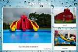 inflatable water park with slide and pool