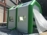 Inflatable garage workstation for mobile auto tinting