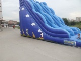 blue commercial inflatable wave shape slide