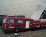 Red inflatable truck bouncy slide