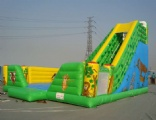 Green forest with animals inflatable slide combo