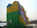 sponge bob inflatable slide with palm tree