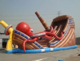 Giant inflatable Kraken Wow slide with large octopus