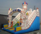 Fantastic white and blue castle inflatable slide