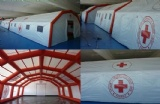 Inflatable refugee tent for first aid during disaster