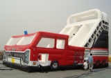inflatable red bus slide