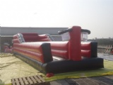 inflatable bungee wall with stretch cord tied