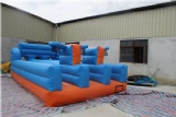 Inflatable bungee run game with basketball hoop