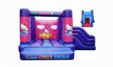 pink hello kitty inflatable bounce house with slide