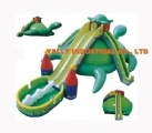 big green turtles inflatable slide with double slideway