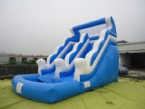 Inflatable slide with swimming pool