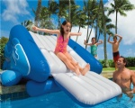 Inflatable water free fall slide